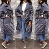 Удлиненная куртка комбинированная серая A116