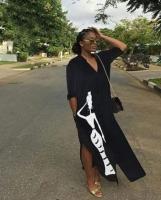 Платье SIZE PLUS пуговках длинное Черное KH OP37
