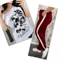 Костюм белая футболка SIZE Plus FLWERS с брюками бордо IN