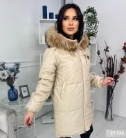 Удлиненная куртка под кожу с натуральным мехом кремовая T124