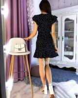 Платье на запах софт в горох черное O114