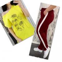Костюм желтая футболка SIZE Plus женский образ и цветы с брюками бордо 01IN