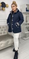 Стеганая куртка Size Plus с капюшоном манжет однотонный KSU