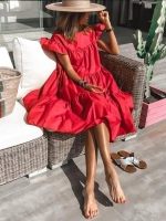 Платье ярусное с крылышками рукав красное O114