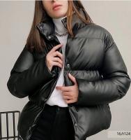 Куртка под кожу черная T124