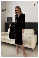 Платье барби на запах с поясом черное O114