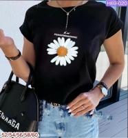 Футболка SIZE PLUS цветок Ромашка Черная SV