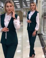 Костюм тройка жакет, брюки и блуза зеленый RH122