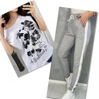 Костюм белая футболка SIZE Plus FLWERS с брюками серыми IN