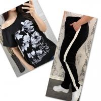Костюм черная футболка SIZE Plus FLWERS с брюками черными IN