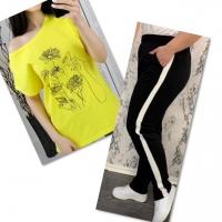 Костюм желтая футболка SIZE Plus женский образ и цветы с брюками черными IN