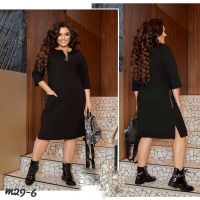 Платье Size Plus с карманами на молнии чёрное M29