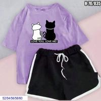 Шорты и сирень футболка SIZE PLUS котики SV