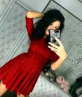 Платье люрекс песок красное A116