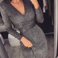 Блестящее платье на запах темно-серый люрекс O114
