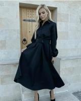 Платье барби с поясом черное O114