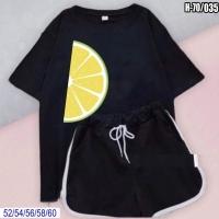 Шорты и черная футболка SIZE PLUS долька лимона SV
