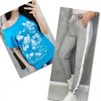 Костюм голубая футболка SIZE Plus FLWERS с брюками серыми IN