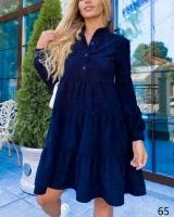 Платье вельвет колокольчик с пуговками темно-синее X118