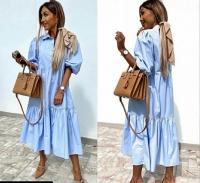 Платье лайт длинное голубое Z109 133