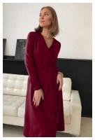 Платье барби на запах с поясом бордо O114