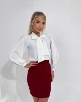 Блузка с галстучком белая A133