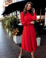 Платье лайт миди с поясом красное M116