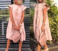 Платье ярусное с крылышками рукав розовое O114