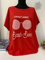 Свободная футболка SIZE Plus Beach Bum красная In