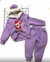 Детский утепленный костюм с ушками хайп дед мороз Сирень Xi