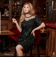 Платье Size Plus с пайетками верх сеточка черное M29
