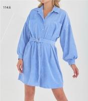 Туника-платье вельвет с поясом голубое O114
