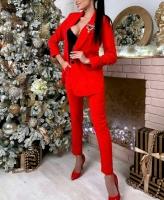Классический костюм пиджак и брюки Красный M116