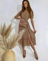 Платье софт в горошек каппучино RXA233.6