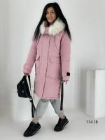 Удлиненная куртка с мехом розовая O114