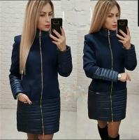 Комбинированное пальто кашемир+плащевка синее KH