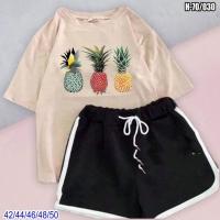 Костюм шорты и футболка каппучино ананасы SV
