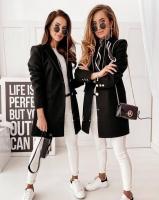 Пальто с кашемиром черное A133