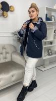 Стеганая куртка Size Plus с капюшоном манжет полоска KSU