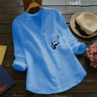 Рубашка котик и рыбка голубая RX45