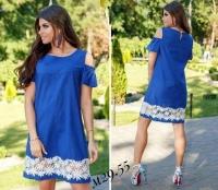 Платье Size Plus с открытыми плечами цветы синее M29
