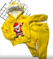 Детский утепленный костюм с ушками хайп дед мороз желтый Xi