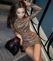 Платье люрекс песок золото K115