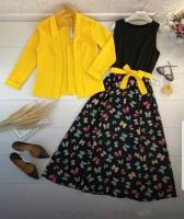 Двойка платье бабочки и жёлтый пиджак Kh