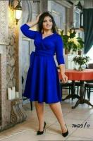 Платье Size Plus на запах синее M29
