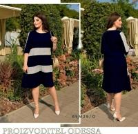 Платье Size Plus вельвет с серыми вставками спереди темно-синее M29