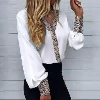 Рубашка вставка леопард белая A133