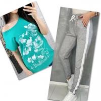 Костюм бирюза футболка SIZE Plus FLWERS с брюками серыми IN
