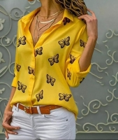 Блузка лайт 6106 бабочки желтая A133 R112