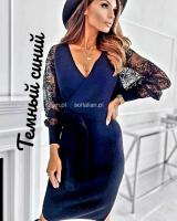 Платье турецкая лапша с гипюром темно-синее A116